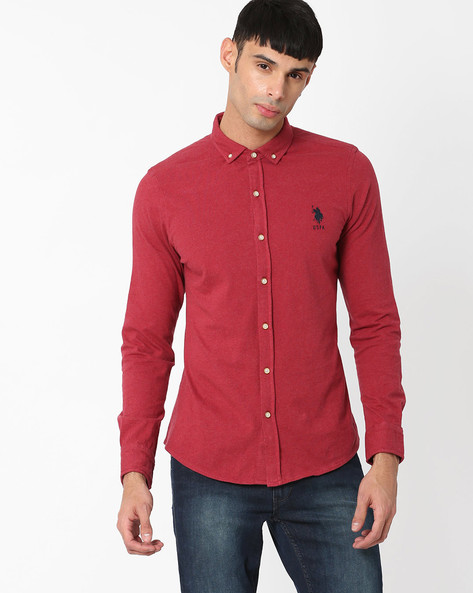 Slim Fit Shirt With Curved Hemline By US POLO ( Mauve )