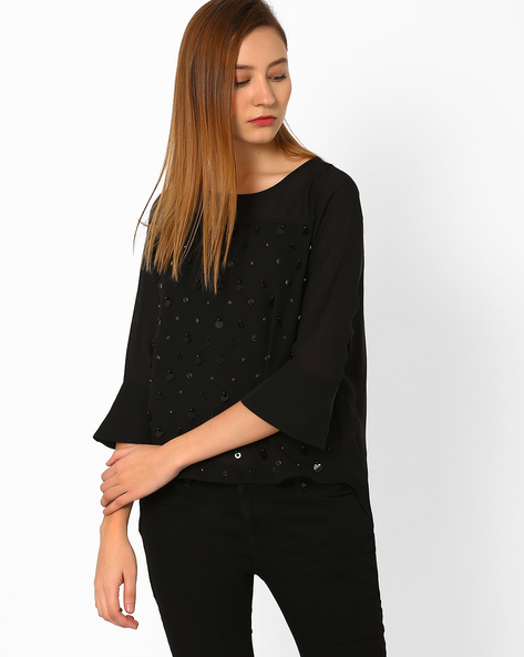 Embellished Top With Bell Sleeves By AJIO ( Black )