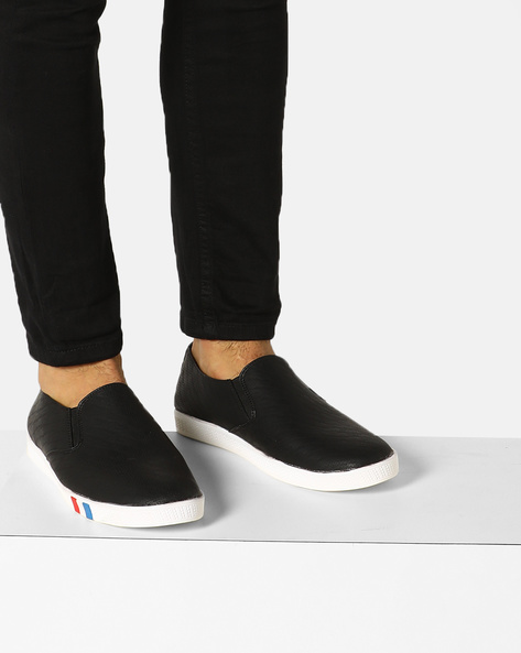 Panelled Slip-On Sneakers By Modello Domani ( Black )