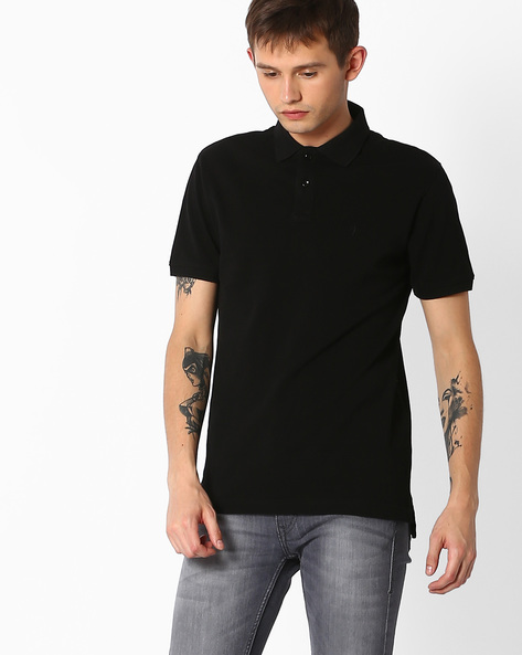 Cotton Polo T-shirt By INDIAN TERRAIN ( Black )