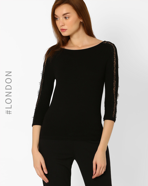 T-shirt With Lace Panels By Marks & Spencer ( Black )