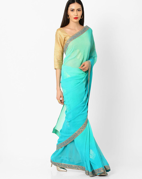 Printed Saree With Lace Border By Arissa ( Green )