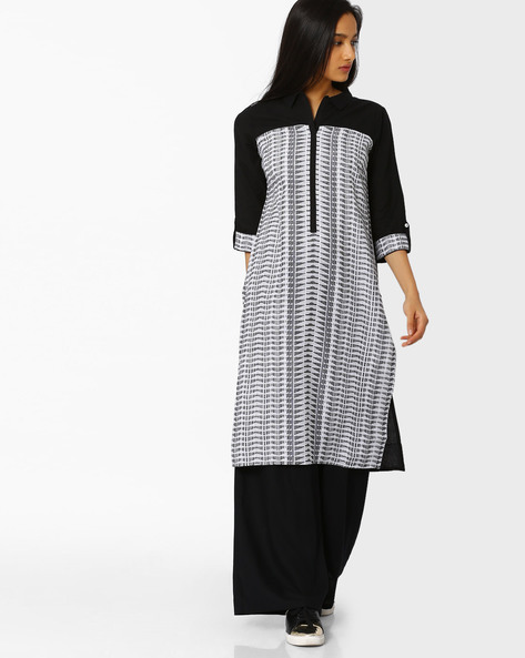 Printed Cotton Kurta With Collar By AURELIA ( Black )
