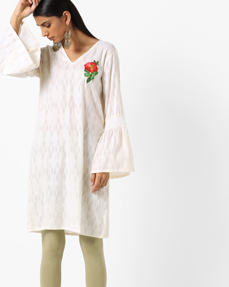 Jacquard Tunic With Bell Sleeves By AJIO ( Offwhite )