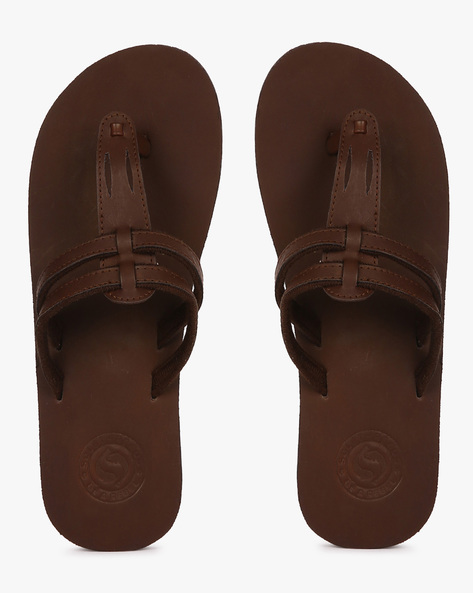 Faux-Leather T-strap Flip-Flops By Sole Threads ( Brown )