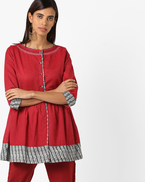 Striped Flared Tunic With Contrast Hems By AJIO ( Maroon )
