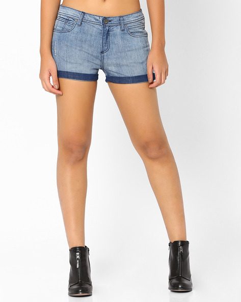 Distressed Denim Shorts By AJIO ( Lightblue )