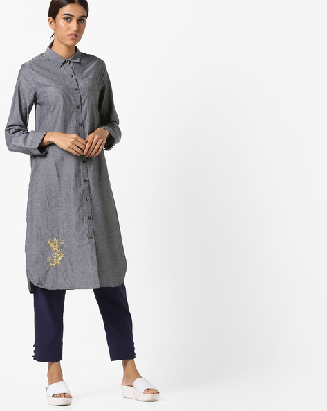 Shirt Kurta With Patch Pocket By AJIO ( Black )