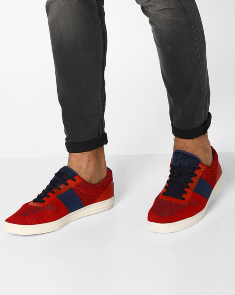 Colourblock Sneakers With Perforations By AJIO ( Red )
