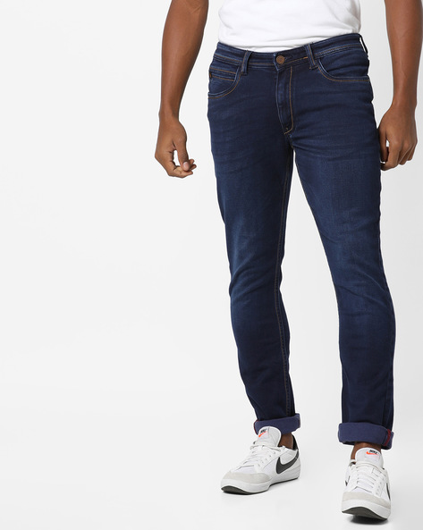 Lightly Washed Slim Fit Jeans By Locomotive ( Blue )