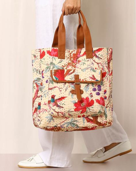 Floral Print Handbag With Kantha Embroidery By Molcha ( Beige )
