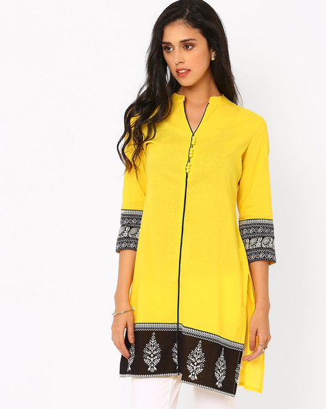 Printed Kurta With Mandarin Collar By AJIO ( Yellow )