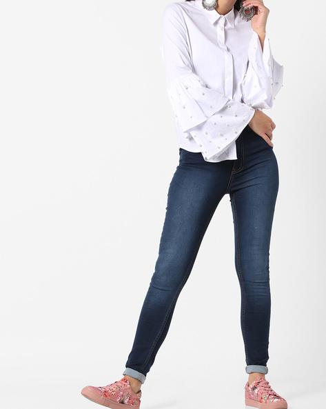 Lightly Washed Skinny Jeans By Vero Moda ( Fuschiablue )