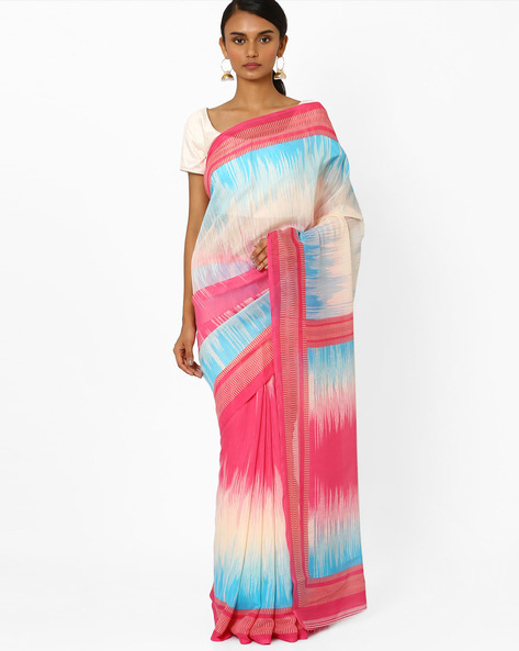 Printed Saree With Contrast Border By Akoya ( Multi )