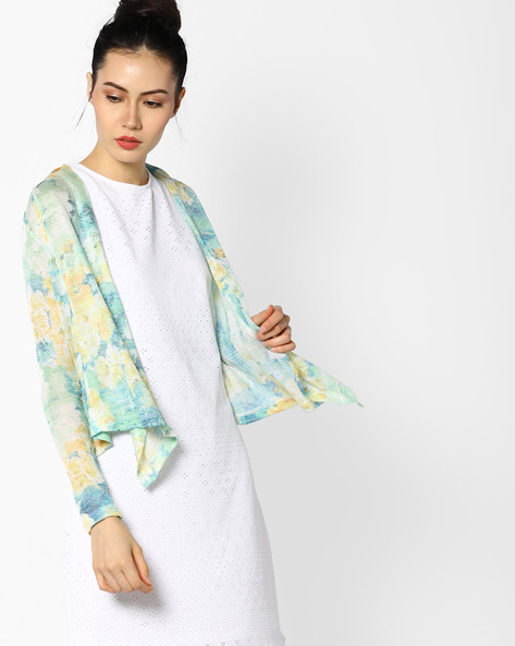 Floral Print Waterfall Shrug By CODE By Lifestyle ( Yellow )
