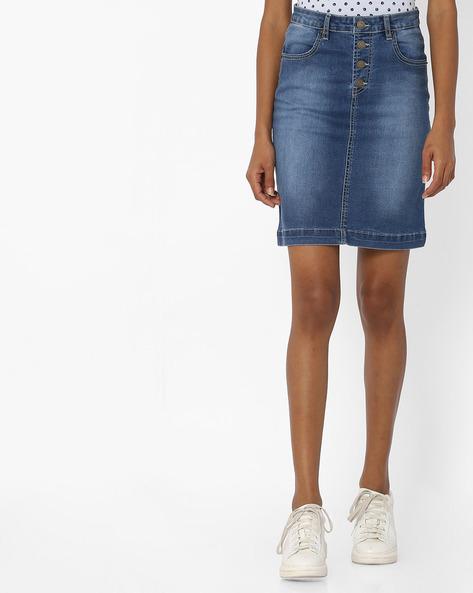 Panelled Denim Skirt By Tarama ( Blue ) - 460143486001