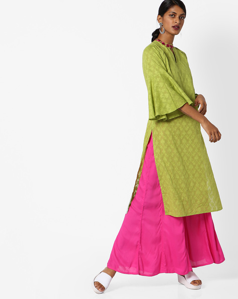 Dobby-Weave Kurta With Bell Sleeves By AJIO ( Olive )