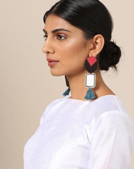 Thread Work Metal Earrings With Mirror & Tassels By June ( Multi )