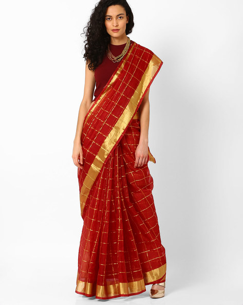 Checked Saree With Contrast Border By Pihu ( Purple )