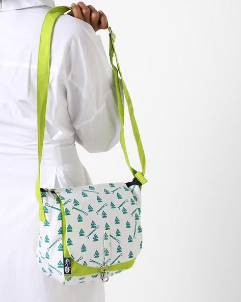 Printed Canvas Sling Bag By Kanvas Katha ( Mint )