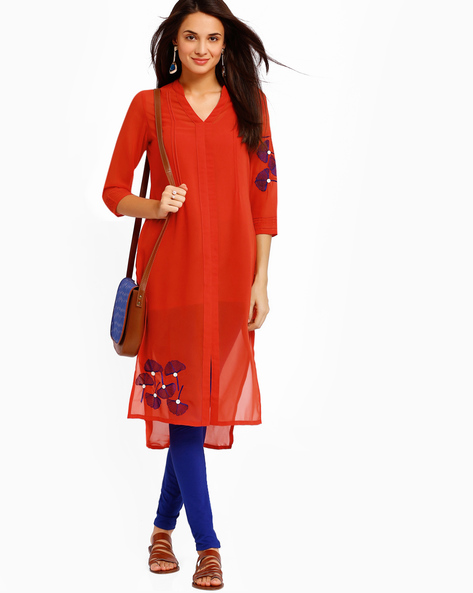 High-Low Kurta With Front Split By AJIO ( Coral )