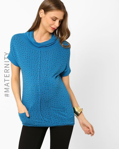 Embellished Maternity Top By AJIO ( Blue )