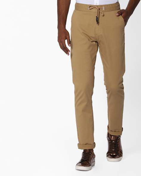 Mid-Rise Flat-Front Chinos By Nature Casuals ( Beige )