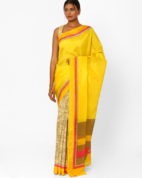 Printed Bhagalpuri Saree With Blouse By Florence ( Yellow )