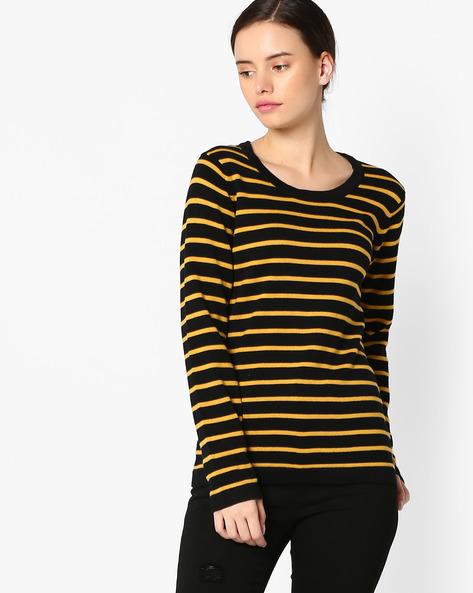 Striped Cotton Top By TEAM SPIRIT ( Mustard )