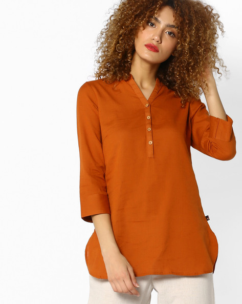 Tunic With Mandarin Collar By Juniper ( Brown )