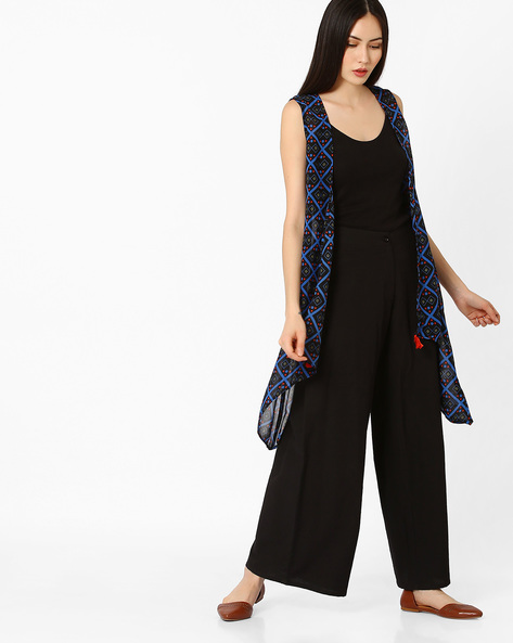 Printed Waterfall Shrug By COLOUR ME ( Black )