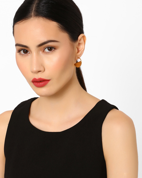 Semi-Round Hoop Earrings By Pipa Bella ( Gold )