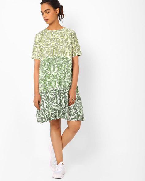 Printed Ombre-Dyed Shift Dress By Vajor ( Green )