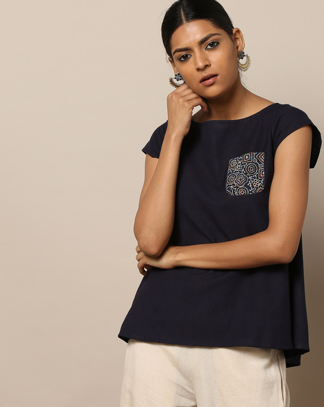 Flared Cotton Top With Printed Patch Pocket By Indie Picks ( Blue )