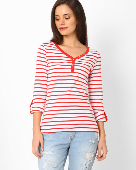 Striped Cotton V-neck Top By TEAM SPIRIT ( Red )