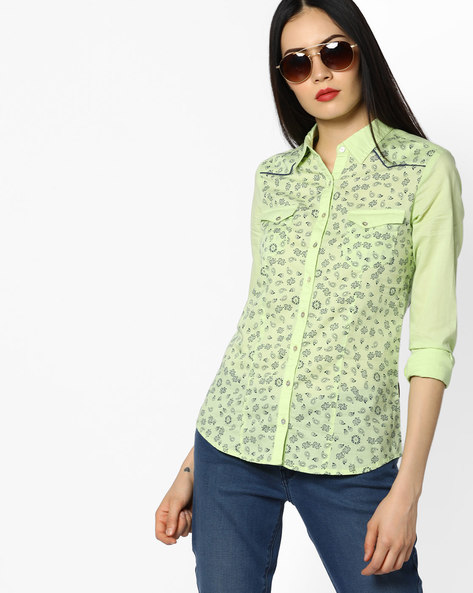 Printed Cotton Shirt By WRANGLER ( Green )