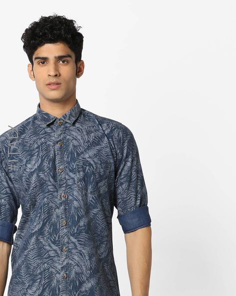 All-Over Print Shirt With Spread Collar By ALCOTT ( Navy )