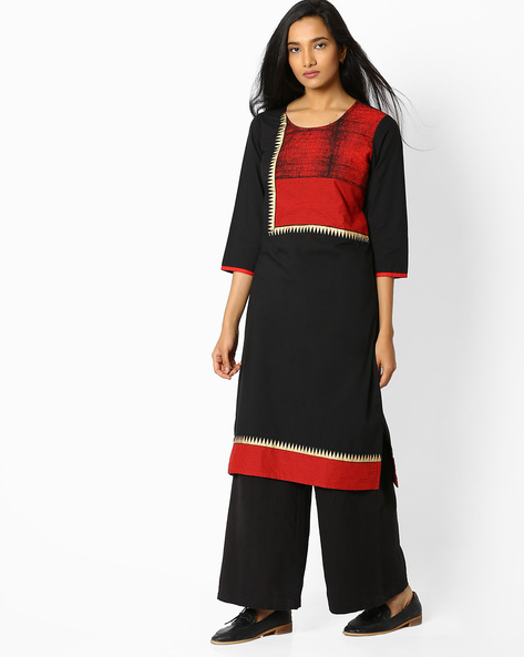 Straight Kurta With Contrast Front Yoke By Rangmanch By Pantaloons ( Black )