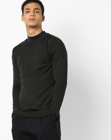 Pullover With Ribbed Hems By Jack & Jones ( Green )