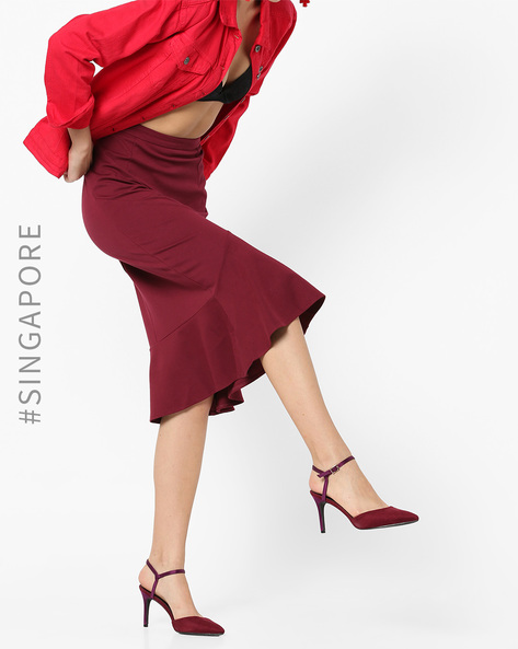 Panelled Skirt With Flounce Hem By MDS ( Red )