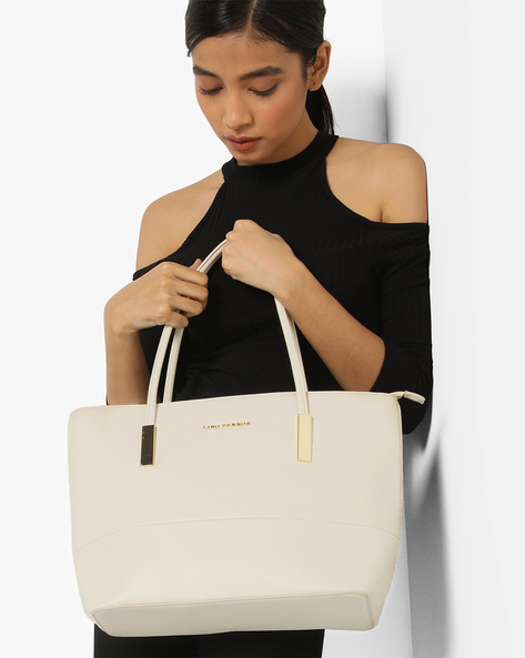 Textured Shoulder Bag By Lino Perros ( White )
