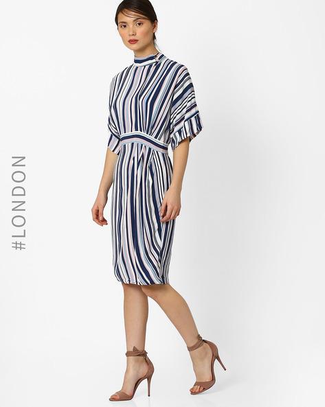 Striped Sheath Dress By Closet London ( Blue )
