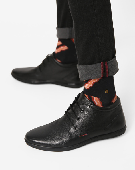 Mid-Top Leather Lace-Up Shoes By RED CHIEF ( Black )