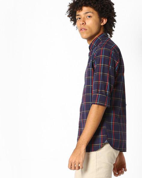 Cotton Checked Shirt By Pepe Jeans ( Navy )