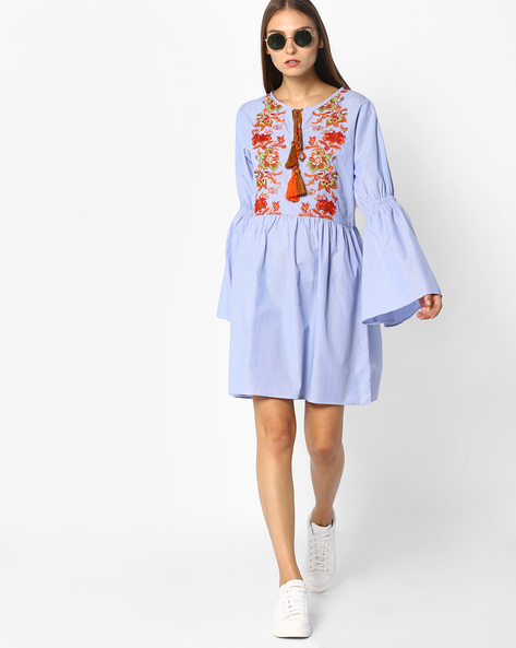 Fit & Flare Dress With Floral Embroidery By Rena Love ( Ltblue )