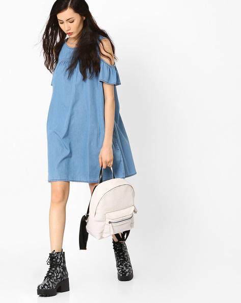 Cold-Shoulder Denim Dress By AJIO ( Lightblue )