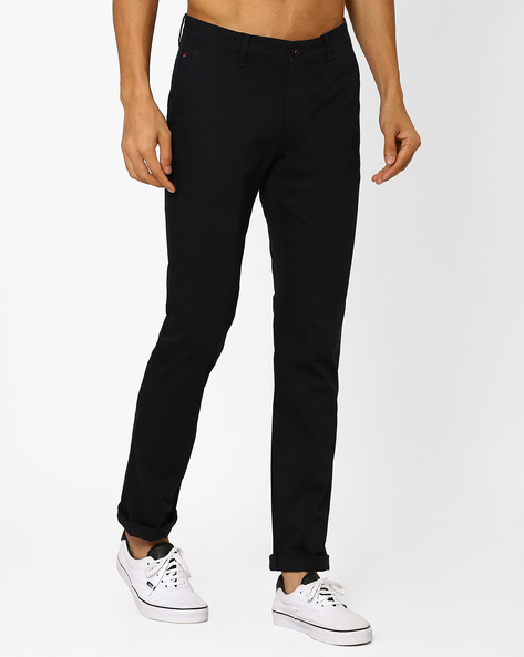 Cotton Slim Fit Trousers By Wills Lifestyle ( Black )