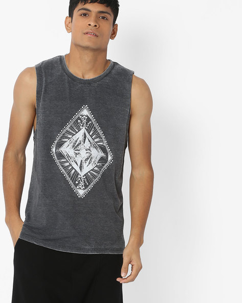 Printed Sleeveless T-shirt With Deep Armholes By Blue Saint ( Charcoal )