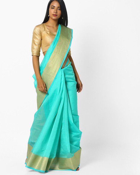 Woven Saree With Contrast Border By CHHABRA 555 ( Blue )