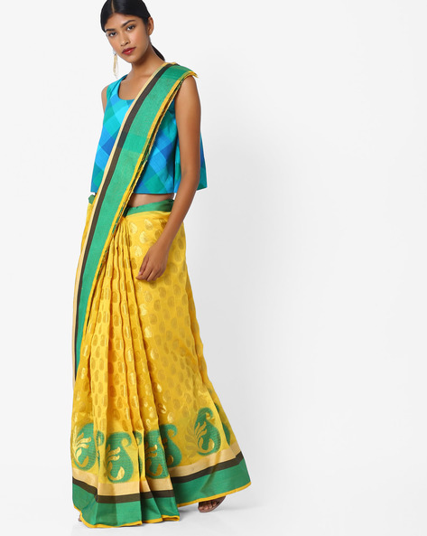 Paisley Print Saree With Contrast Border By Hitansh ( Yellow )